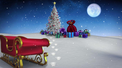 Many christmas gifts under fir tree with sled Animation