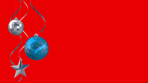 Seamless hanging christmas decorations on red Animation