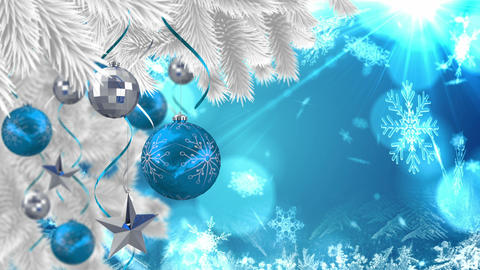 Seamless christmas scene with copy space and decorations Animation