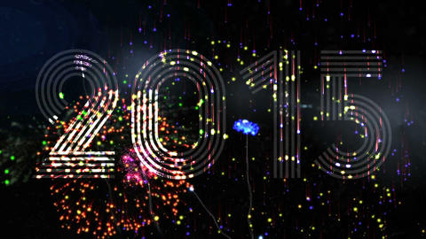 Seamless colourful fireworks exploding with 2015 Animation