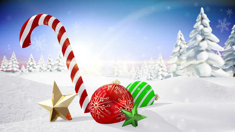 Seamless christmas scene with decorations Animation