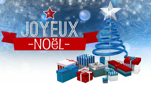 Seamless Christmas Scene With Greeting In French stock footage
