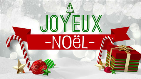 Seamless christmas scene with greeting in french Animation