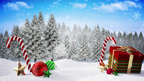 Seamless christmas scene with message Animation