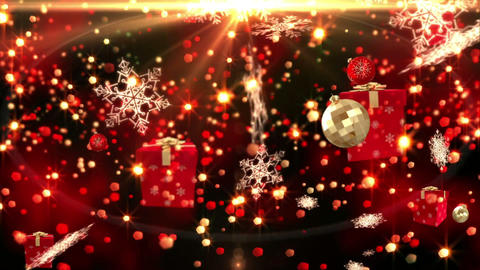 Seamless christmas decorations falling on gold Animation