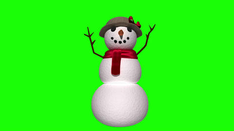 Seamless christmas snowman waving on green background Animation