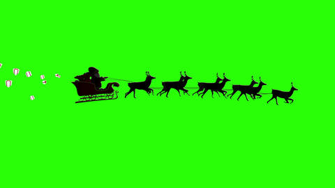 Seamless santa sleigh dropping gifts on green background Animation