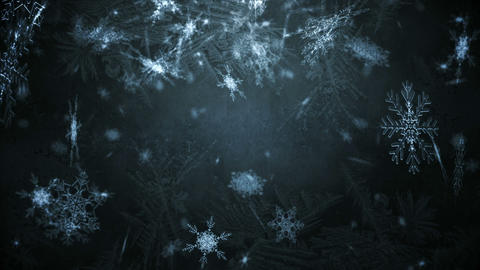 Seamless snowflakes falling on black Animation