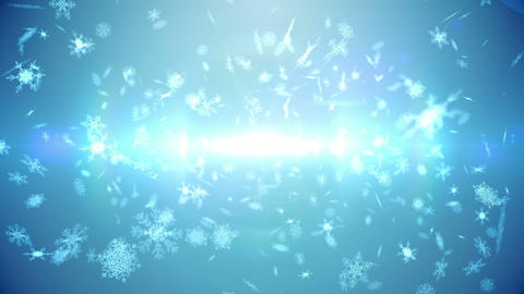 Seamless snowflakes falling in blue Animation