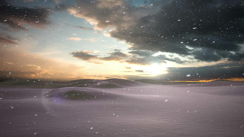 Snow falling on snowy windy landscape Animation