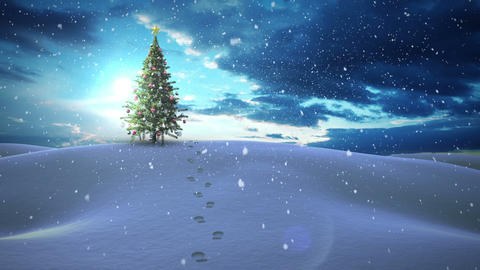 Snow falling christmas tree in snowy landscape Animation