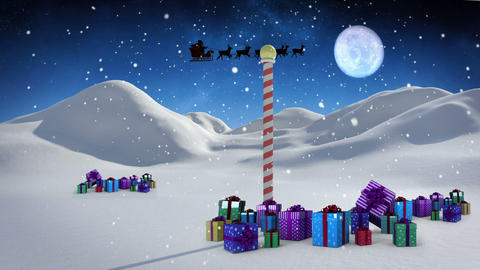 Santa and his sleigh flying over snowy landscape with pole and gifts loopable Animation