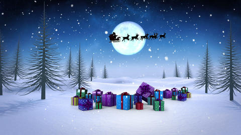 Santa and his sleigh flying over snowy landscape with gifts loopable Animation