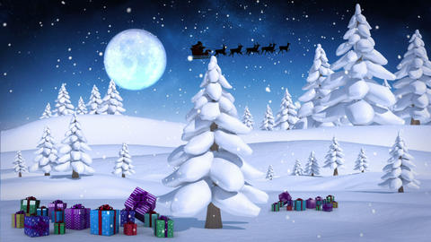 Santa and his sleigh flying over snowy forest loopable Animation