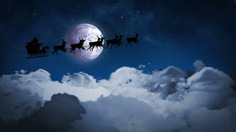 Santa and his sleigh flying over clouds loopable Animation