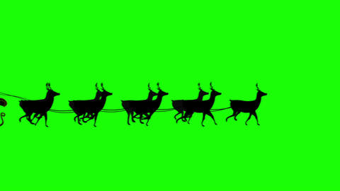 Santa and his sleigh flying against green screen b Footage