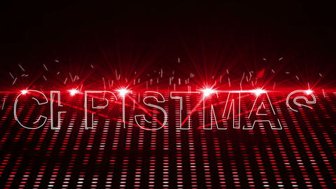 Red laser show with christmas text and clip Animation