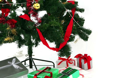 Christmas tree with many gifts Stock Video Footage