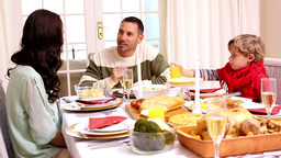 Happy Family Having Christmas Dinner Together stock footage