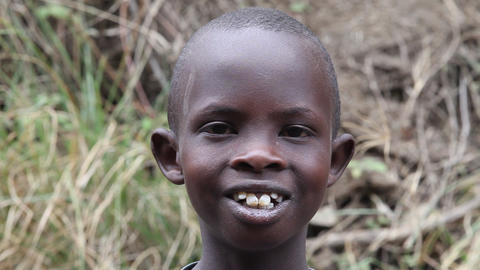 African boy face close-up. Kenya Footage