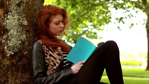 Pretty redhead reading a book in the park Footage