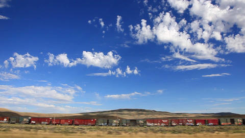 Freight Train In The Montana Countryside stock footage