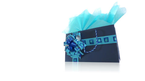 Blue Decorated Gift Bag Dolly Footage
