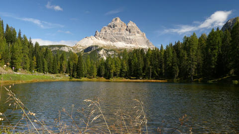 idyllic mountain lake and tre cime de lavare 11528 Footage