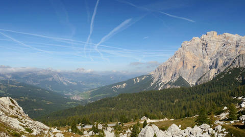 pan over dolomite alps valley 11530 Footage
