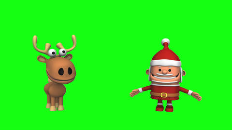 Funny Dancing Santa Claus And Reindeer (Green Scre stock footage
