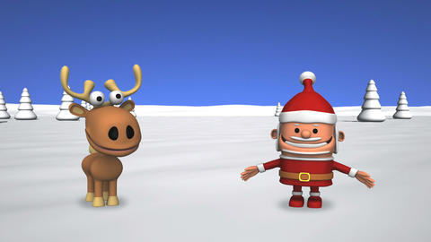 Funny Dancing Santa Claus And Reindeer stock footage
