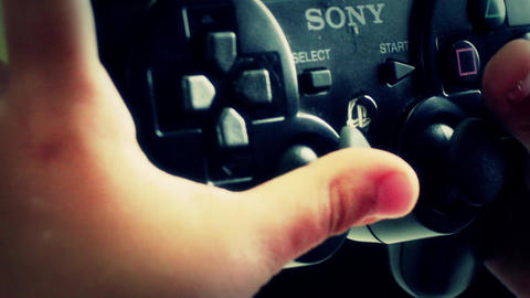 Extreme Close Up On PS3 Remote stock footage