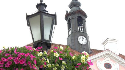 The Big Clock From The Old City Hall Of Tartu Esto stock footage