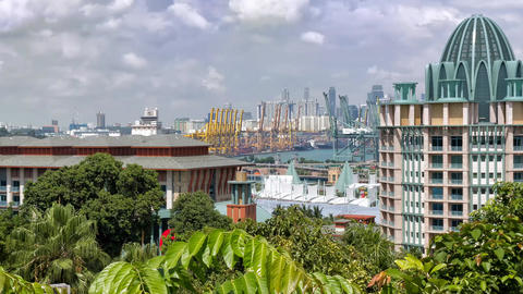 Singapore Port stock footage
