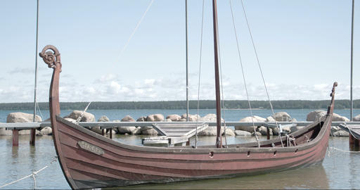 A viking boat floating on the sea FS700 4K RAW Ody Filmmaterial