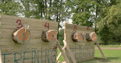 Four log boards with three axes on each Footage