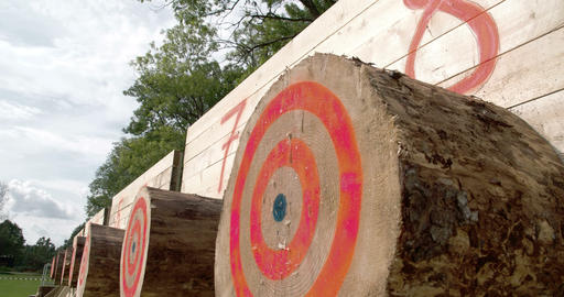 A big log with circles on it on an axe competition Footage