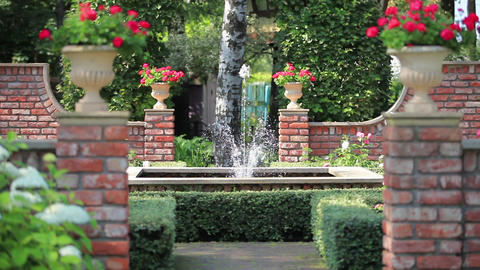 beautiful garden with a fountain Footage