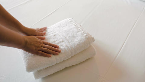 White Clean Towels On The Bed Footage