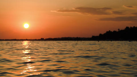 Beautiful Sunset Over Wavy Sea Footage