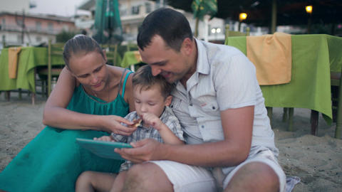 Family Of Three On Resort With Tablet Pc Footage