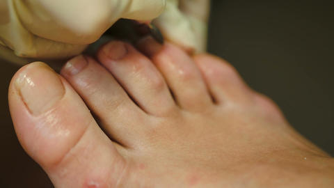 Woman Getting A Pedicure stock footage