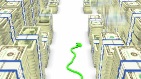 Loopable Green graph moving up between falling dollar... Stock Video Footage