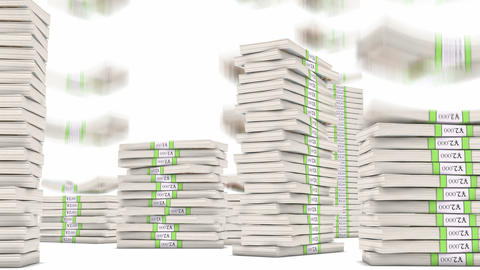 20 Yuan bundles stacks falling down. Wealth and money Stock Video Footage