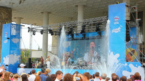 Performance of folk music group and the fountains of milk. Milk Festival in Ufa, Russia Footage
