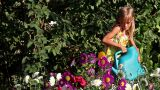 Girl And Flowers stock footage