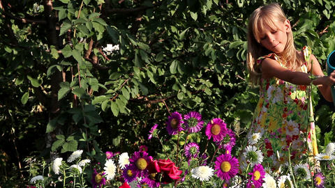 Girl and flowers Stock Video Footage