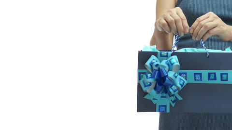 Woman Blue Gift Bag Copyspace stock footage