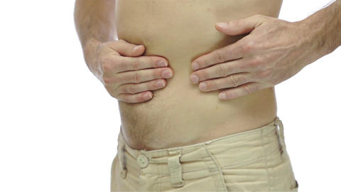 Male With Ulcer Pain Isolated On White stock footage