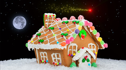 Gingerbread house and shooting star Footage